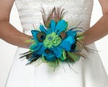 Lillian Rose Peacock Feather Bouquet, 9-Inch