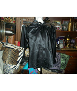 LIM YING YING Hong Kong Sharp Jet Black Silk Blouse Size S - $14.85