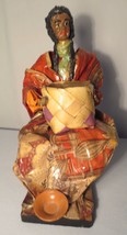 Vintage Xalisco Mexico Paper Mache figure Woman selling Tortillas - $30.00