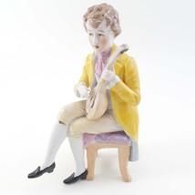 Porcelain Figurine Victorian Man sitting on Stool Playing Mandolin image 1