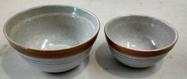 POTTERY CRAFT USA - 2 Stoneware Brown and Tan Mixing Bowls  1 1/2 Qt  & ... - $25.99