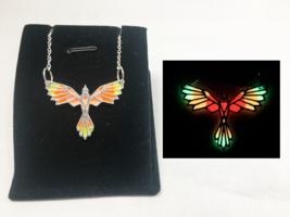 PHOENIX Fire GLOW in the DARK Silver Pendant Charm Necklace Bird Origami... - $15.15