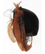 Brown velvet feather accent vintage hat asymmetrical circa 1940 50s veil... - $24.00