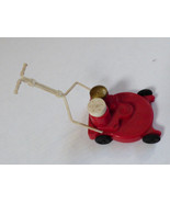 VTG Retro Red Plastic Tiny Lawn Mower Salt & Pepper Shaker set Moving parts - $51.48