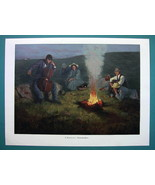 SUN WORSHIPERS Winter Solstice Fire  - COLOR VICTORIAN Era Print - $10.09