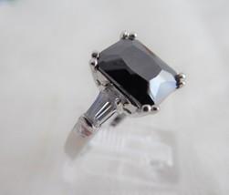 Art Deco Emerald Cut Black Czech Glass Ring Tapered Baguettes 1940s Bohemian - $58.00