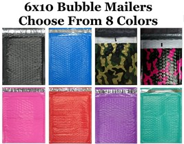 6x10 #0 ( Black Blue Camo Pink Purple Red or Teal  ) Color Poly Bubble M... - $2.99+