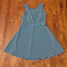 Womens George Size Small Light Blue Black Striped Dress Sleeveless Stret... - $6.19