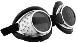 SteamPunk Cosplay Radioactive Lab / Aviator Goggles Silver/Black, NEW UN... - $15.47