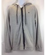 TAVIK Mens Zip Up Grey Hoodie front zipper patched elbows XL - $36.47