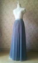 Gray Tulle Skirts for Bridesmaids Plus Size Full Long Wedding Tulle Skirt Outfit image 3