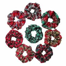 8 Pcs Winter Polyester Hair Scrunchies Woven Christmas Hair Band Snowflake Elast