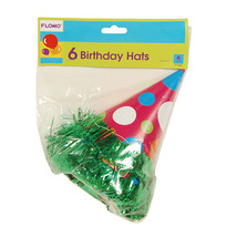 6.25 Polka Dot Design Birthday Hats With Tinsel Trim, Case of 288 - €69,01 EUR