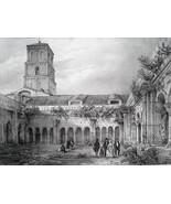 FRANCE Arles Cloister of Saint Trophime Church - SUPERB 1843 Antique Print - $18.00
