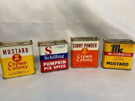 Set of 4 Vintage Baking Tin Cans McCormick Mustard Crown Colony Curry Sc... - $15.00