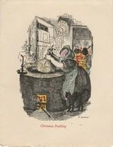 Vintage Christmas Card Woman Cooks Pudding 1926 Robert Seymour Illustration - $12.86