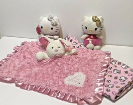 Lot 4 Hello Kitty Receiving Blanket with 2 Plush and Okie Dokie Securit... - $28.44