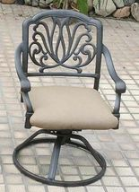 Patio bistro set 3 Piece outdoor swivel rocker Elisabeth chairs cast aluminum image 3