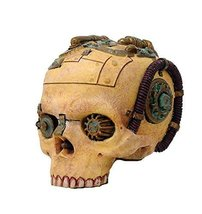 Steampunk Skull Skeleton Gear Pipe Paperweight Statue Figurine - $10.69