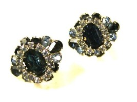 Gorgeous Blue & White Rhinestone Clip On Earrings by HOBE 71215 - $44.54