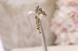 AUTH Christian Dior 2019 CLOVER CRYSTAL STAR HOOP DANGLE GOLD Earrings  image 12