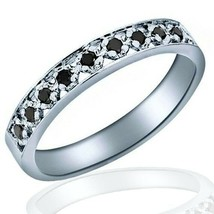 Black Diamond Wedding Women's Band Ring Pave Set 10k White Gold 0.11 Carat - £135.65 GBP