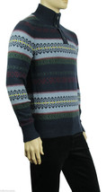 NEW TOMMY HILFIGER HALF BUTTON MOCK NECK FIRE ISLE NAVY PULLOVER SWEATER... - €38,55 EUR