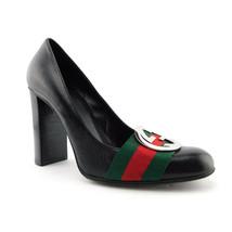 GUCCI Size 5.5 GG Logo Web Black Leather Heels Pumps Shoes - $259.00