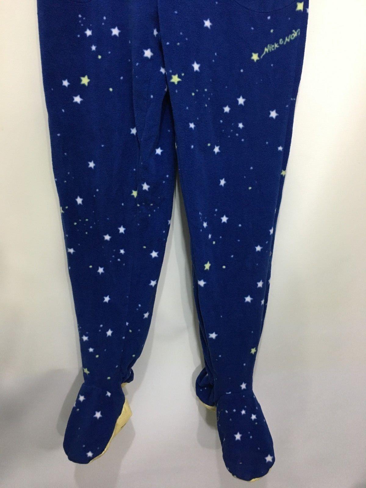 Nick & Nora Womens S Blue Stars One Piece Fleece Footed Pajamas Glow-In-the-Dark
