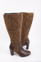 Clarks Womens Heeled Knee High Boots Sz 9 Brown Taupe Leather Suede Roun... - €50,48 EUR