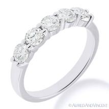 Forever ONE D-E-F Round Cut Moissanite 14k White Gold 5-Stone Band Wedding Ring - £329.13 GBP - £1,660.99 GBP
