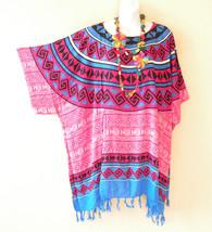 KB756 Pink Batik Caftan Poncho Kimono Tassel Tunic Blouse Top - 2X, 3X, 4X, 5X - $24.65
