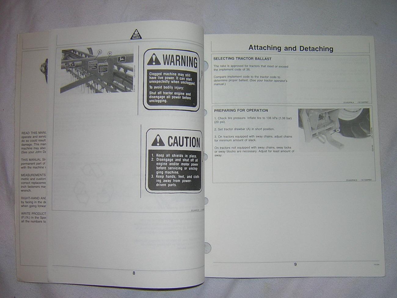 John Deere 54 Side-Delivery Rake Operator's Manual