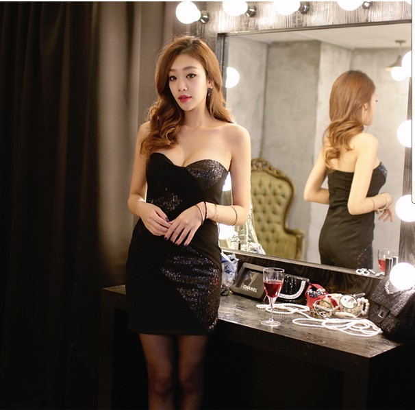 343F008 Sexy Party lace dress,off shoulder,Free size, fit to S/M black