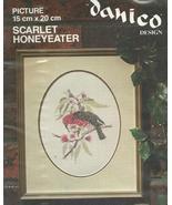 Danico Cross Back Stitch Kit Scarlet Honeyeater Australia Bird 15 x 20 cm - $9.93