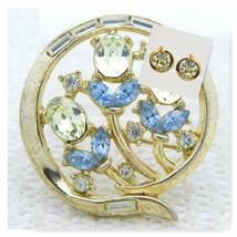 VTG CROWN TRIFARI Patent Pend Clear Citrine Blue Rhinestone Flower Pin E... - $148.50