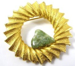Dubarry Dfa Green Gemstone Vintage Signed Gold Plated Wreath Brooch Pin*... - $9.90