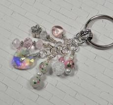 Heart Flower Crystal Beaded Handmade Keychain Split Key Ring White Pink - $14.83