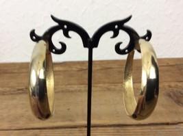 Beautiful Vintage L.H. Segal Gold Tone Hoop Clip On Earring (177) - $7.91