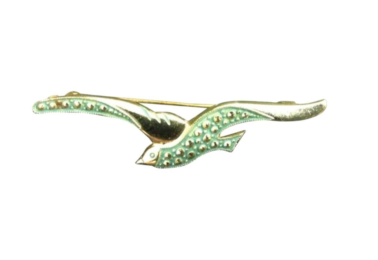 Vintage Bird Brooch Pin Costume Jewelry Green In Flight RL184