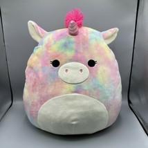 "Squishmallows 16""  Esmeralda Extra Large Tie Dye Rainbow Unicorn 2020 Ke... - $19.79"