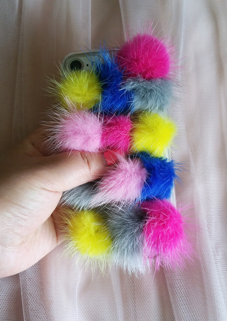 Handmade Multi-Color FUR iPhone 6/6S 7/7s PLUS SE X iPhone Case Cover with Chain