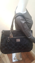 Coach Black Poppy Signature Santeen Glam Tote Shoulder Handbag Purse 18351 - $123.74