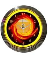 """9 Ball Fire Billiard Pool Neon Clock 15""""x15"""" - $59.00"""