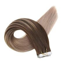 Easyouth 14inch Seamless Skin Weft Glue in Hair 40g 20pcs Color 4 Medium Brown F image 2
