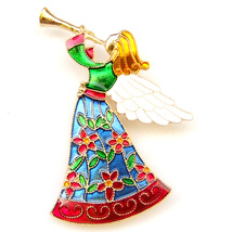 Brooch Angel White Wing Gold Trumpet Red Blue Green Dress Fairytale Girl Pin - $8.99