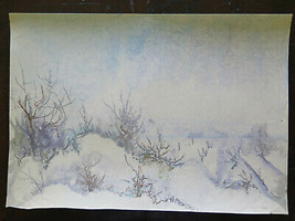 50x35 CM landscape Winter Onrico Painting To Watercolour Frosted P14 - $50.63