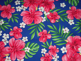 Tropical Pink Floral Palm Leaves Blue Fabir Scrunchies by Sherry  - $6.99