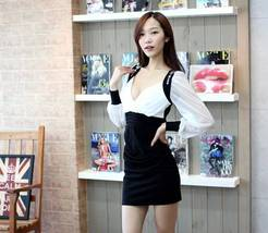 343F012 Sexy party dress, chiffon & microber,  deep v,Free size, fit to ... - $18.80