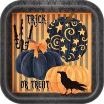 "Painted Pumpkin Raven Halloween Dinner Lunch Plates 9"" 8 Ct Striped - $3.13"